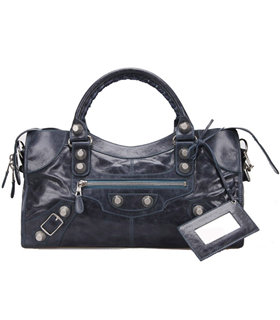 Balenciaga Large Part-Time Bag in Sapphire Blue Original Leather With White Nails