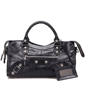 Balenciaga Large Part-Time Bag in Black Original Leather With White Nails