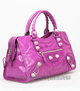 Balenciaga Large Part-Time Bag in Middle Purple Original Leather With White Nails-1