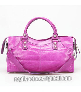 Balenciaga Large Part-Time Bag in Middle Purple Original Leather With White Nails-2