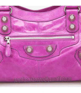 Balenciaga Large Part-Time Bag in Middle Purple Original Leather With White Nails-4