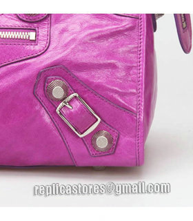 Balenciaga Large Part-Time Bag in Middle Purple Original Leather With White Nails-6