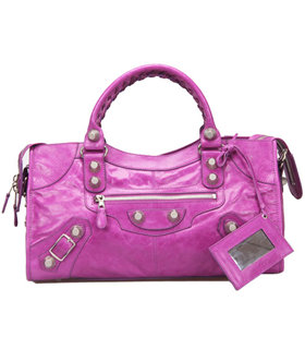 Balenciaga Large Part-Time Bag in Middle Purple Original Leather With White Nails