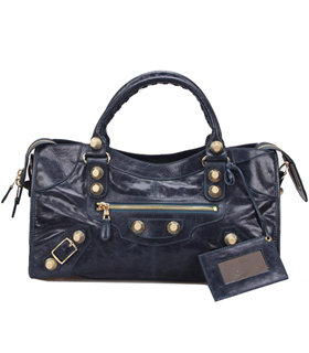 Balenciaga Large Part-Time Bag in Sapphire Blue Original Leather With Golden Nails