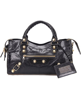 Balenciaga Large Part-Time Bag in Black Original Leather With Golden Nails