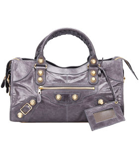 Balenciaga Large Part-Time Bag in Dark Grey Original Leather With Golden Nails