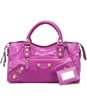 Balenciaga Large Part-Time Bag in Middle Purple Original Leather With Golden Nails