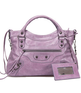 Balenciaga Mini Motorcycle City Bag In Eggplant Purple Original Leather Small Nails