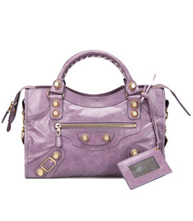 Balenciaga Motorcycle City Bag in Eggplant Purple Imported Leather Gold Nails