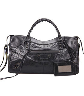 Balenciaga Large Part-Time Bag in Black Original Leather With Small Nails