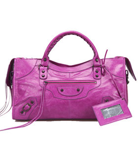 Balenciaga Large Part-Time Bag in Middle Purple Original Leather With Small Nails