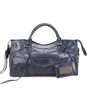 Balenciaga Large Part-Time Bag in Sapphire Blue Original Leather With Small Nails