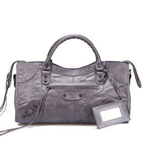 Balenciaga Large Part-Time Bag in Dark Grey Original Leather With Small Nails
