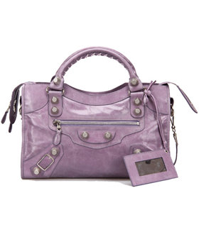 Balenciaga Motorcycle City Bag in Eggplant Purple Imported Leather White Nails
