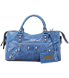 Balenciaga Large Part-Time Bag in Sea Blue Original Leather With White Nails