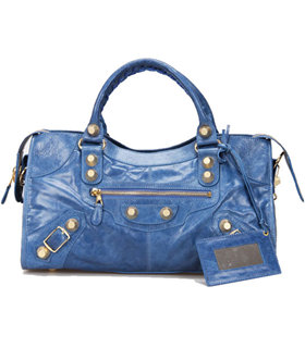 Balenciaga Large Part-Time Bag in Sea Blue Original Leather With Golden Nails