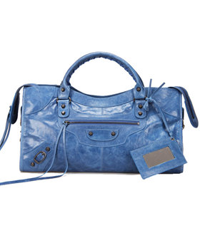 Balenciaga Large Part-Time Bag in Sea Blue Original Leather With Small Nails