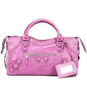 Balenciaga Large Covered Giant Part Time Bag Light Purple Leahter With Leather Nails