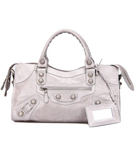 Balenciaga Large Part-Time Bag in Light Grey Original Leather With White Nails
