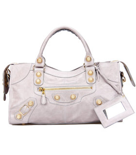 Balenciaga Large Part-Time Bag in Light Grey Original Leather With Golden Nails