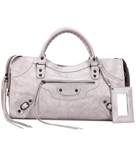 Balenciaga Large Part-Time Bag in Light Grey Original Leather With Small Nails