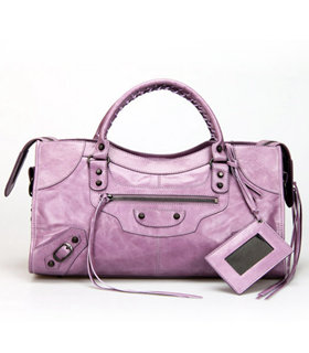 Balenciaga Large Part-Time Bag in Eggplant Purple Original Leather With Small Nails