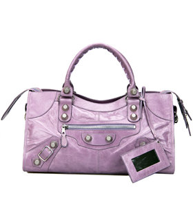 Balenciaga Large Part-Time Bag in Eggplant Purple Original Leather With White Nails