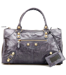Balenciaga Le Dix Motorcycle Work Bag With Dark Grey Leather Golden Nails