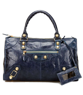 Balenciaga Le Dix Motorcycle Work Bag With Sapphire Blue Leather Golden Nails
