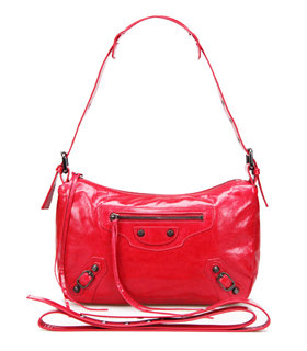 Balenciaga Dark Red Imported Leather Small Tote Shoulder Bag With Small Nail