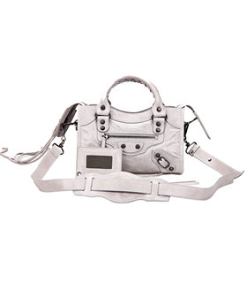 Balenciaga Classic Mini City Tote in Light Grey Imported Leather Small Nails