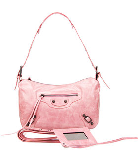 Balenciaga Pink Imported Leather Small Tote Shoulder Bag With Small Nail