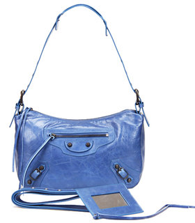 Balenciaga Sea Blue Imported Leather Small Tote Shoulder Bag With Small Nail