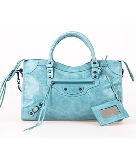 Balenciaga City Bag in Sea Blue Imported Leather With Small Nails