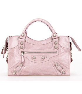 Balenciaga Motorcycle City Bag in Light Pink Imported Leather White Nails