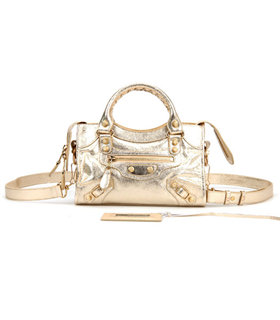 Balenciaga Classic Mini City Tote Bag Golden Leather With Flower Nails