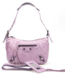 Balenciaga Eggplant Purple Imported Leather Small Tote Shoulder Bag With Small Nail