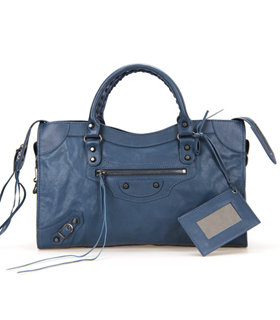 Balenciaga Motorcycle Sapphire Blue Imported Leather Tote Bag