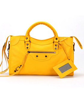 Balenciaga Motorcycle Orange Yellow Imported Leather Tote Bag