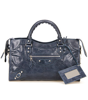 Balenciaga Motorcycle City Bag in Sapphire Blue Imported Leather Flower Nails