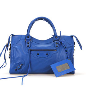 Balenciaga City Bag in Sea Blue Imported Leather