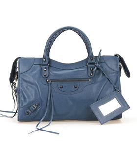 Balenciaga City Bag in Sapphire Blue Imported Leather