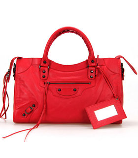 Balenciaga City Bag in Dark Red Imported Leather