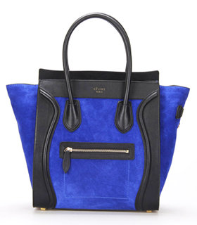 Celine Mini 30cm Electric Blue Suede With Black Leather Tote Bag ...
