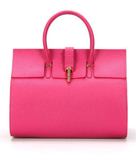 Balenciaga Tube Round Bag With Fuchsia Litchi Pattern Leather
