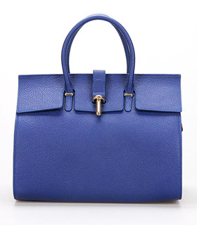 Balenciaga Tube Round Bag With Sapphire Blue Litchi Pattern Leather