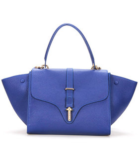 Balenciaga Tube Square Bag With Sapphire Blue Litchi Pattern Leather