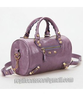 Balenciaga Giant Mini Twiggy Bag With Eggplant Purple Leather Small Golden Nails_1
