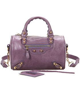 Balenciaga Giant Mini Twiggy Bag With Eggplant Purple Leather Small Golden Nails