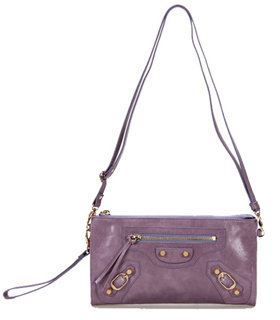 Balenciaga Eggplant Purple Leather Small Shoulder Evening Bag With Small Golden Nails